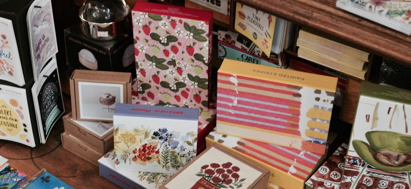 Color photograph of stationary and cards available at riverwalk books